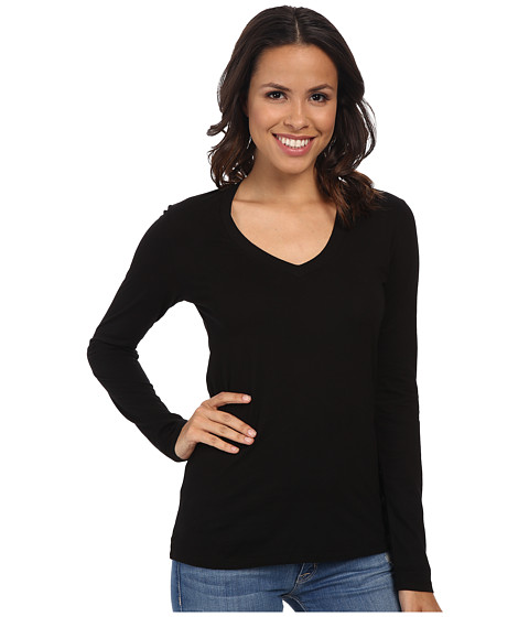 Mod-o-doc Supreme Jersey Fitted L/S V-Neck (Black) Women's T Shirt