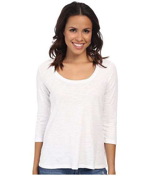 Mod-o-doc Slub Jersey 3/4 Sleeve Scoop Neck Tee (Black) Women's T Shirt