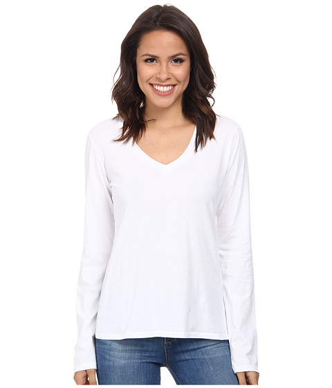 Mod-o-doc Supreme Jersey Fitted L/S V-Neck (White) Women's T Shirt