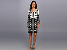 Donna Morgan - A Line Dress With Squared Neck And Bell Sleeve (Black/White)