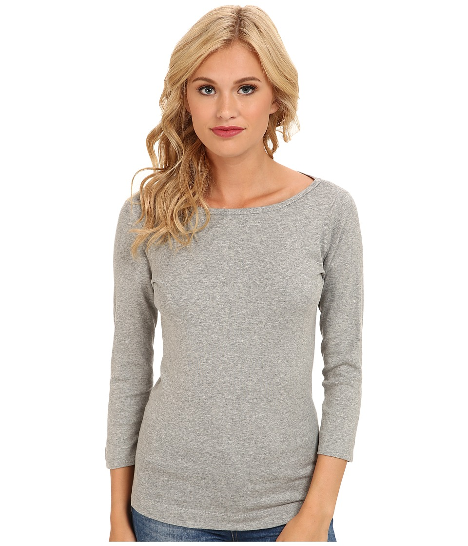Three Dots - 3/4 Sleeve British Tee (Granite) Womens Long Sleeve Pullover