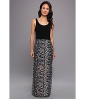 Vince Camuto - Chiffon Overlay Maxi Animal Tracks Dress