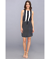 Vince Camuto - S/L Yacht Stripe Mixed Print Dress