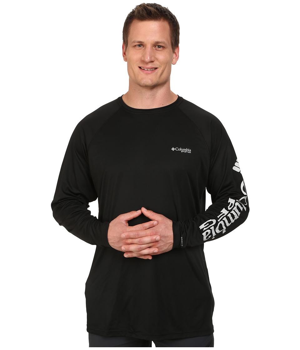 Columbia - Big Tall Terminal Tackletm L/S Shirt (Black/Cool Grey Logo) Mens Long Sleeve Pullover