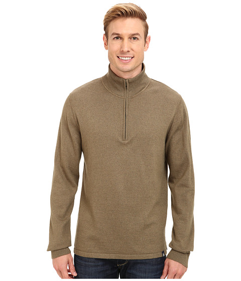 The North Face - Mt. Tam 1/4 Zip Sweater (Burnt Olive Green Heather) - Apparel
