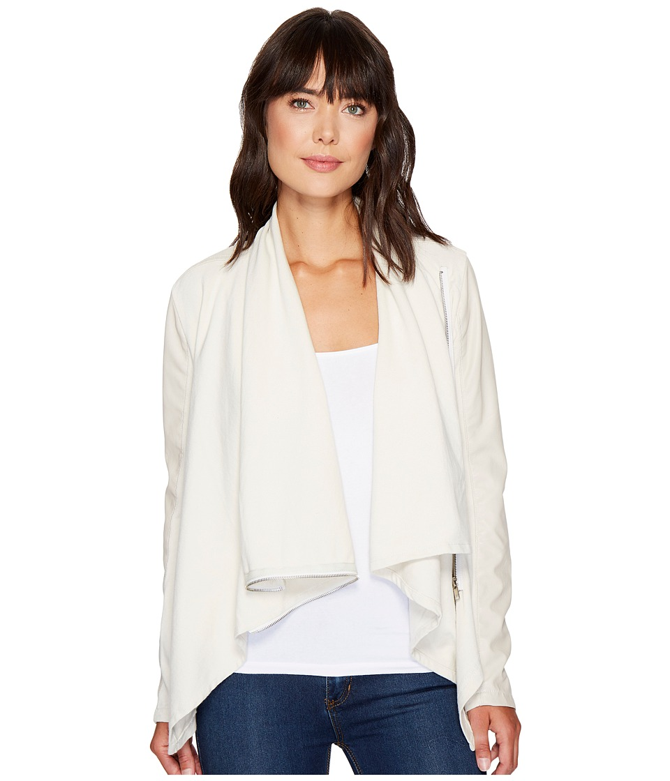 Blank NYC - Beige Vegan Leather Sleeved Draped Jacket in Beige