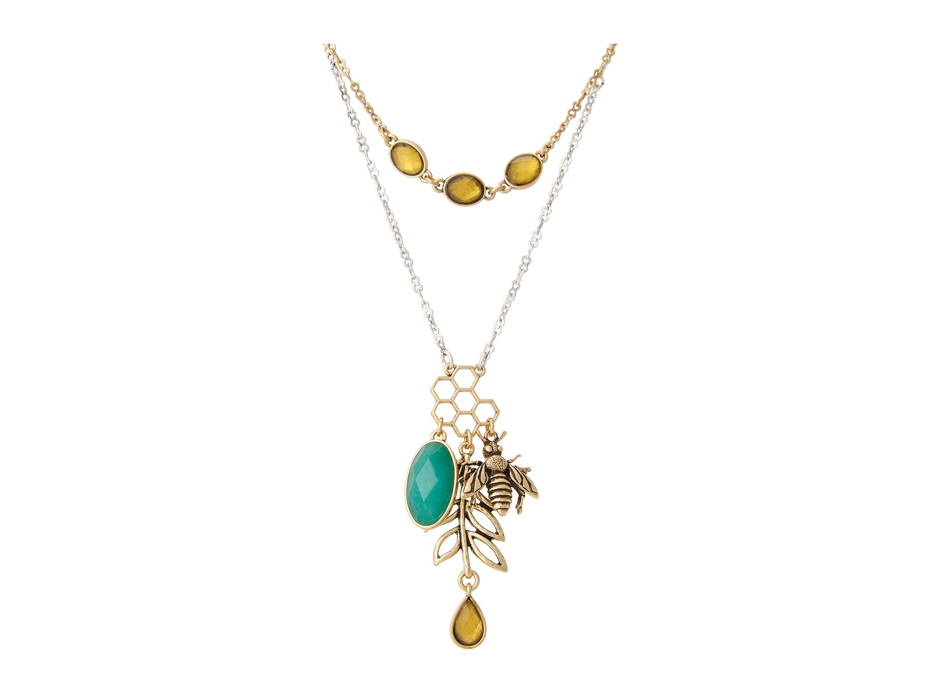 lucky brand bee charm necklace shipped free at zappos