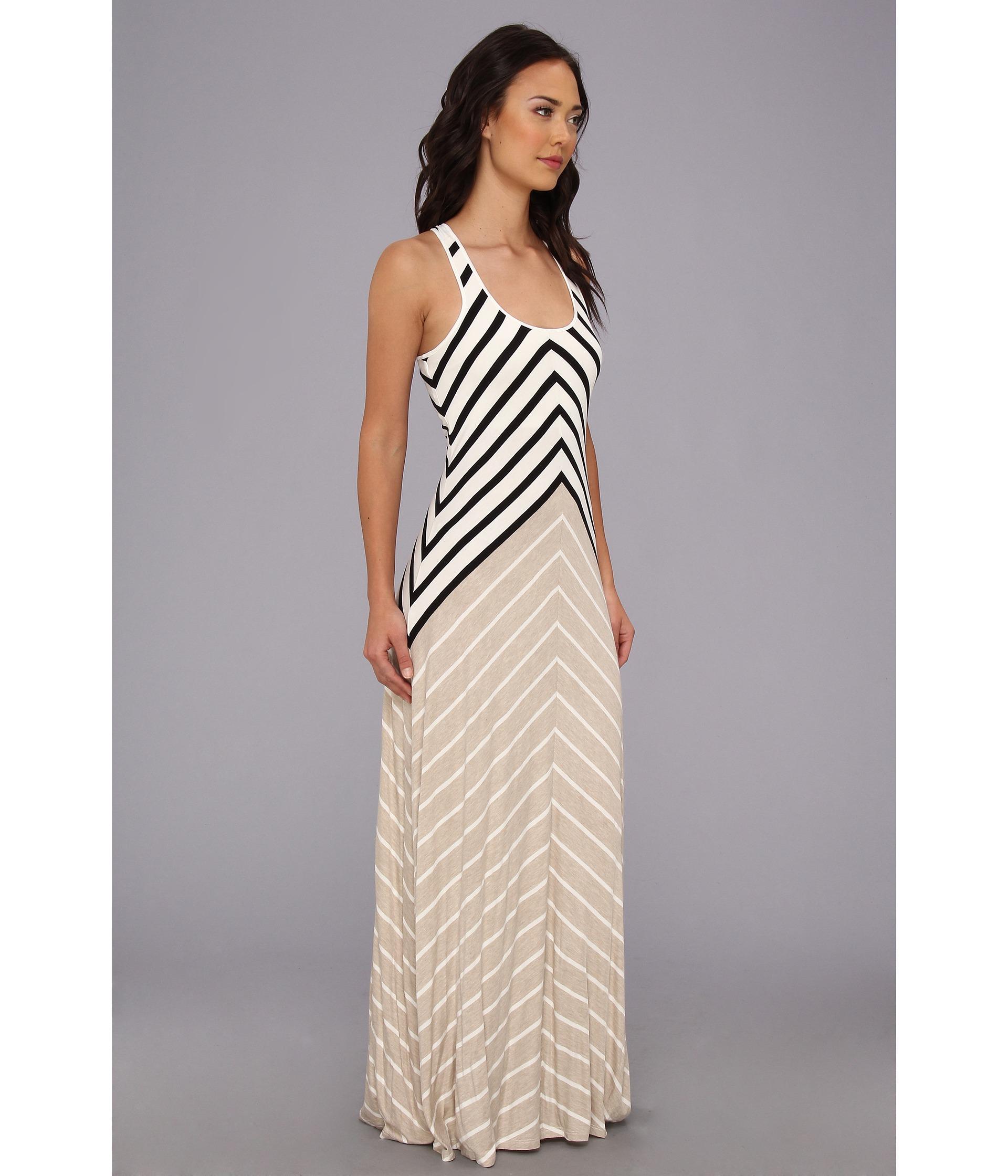 Calvin Klein Mitered Stripe Crossback Maxi Dress White Black Multi