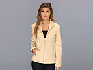 Cole Haan - Single Breasted Wing Collar Leather Jacket With In-Seam Pockets A Lizard-Embossed Lapel (Sand) - Apparel