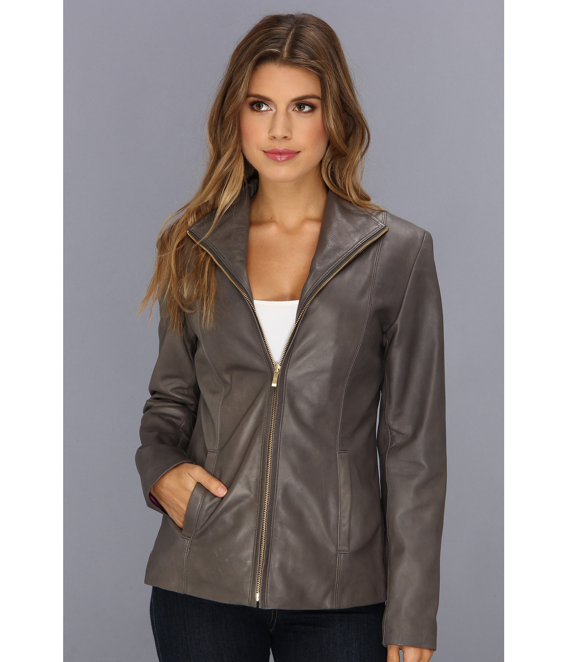 Cole haan single breasted leather zip jacket