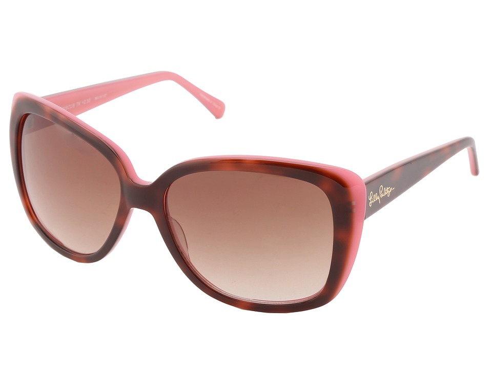 Lilly Pulitzer Hibsicus Sun Reader Tortoise Pink Laminate Reading Glasses Sunglasses