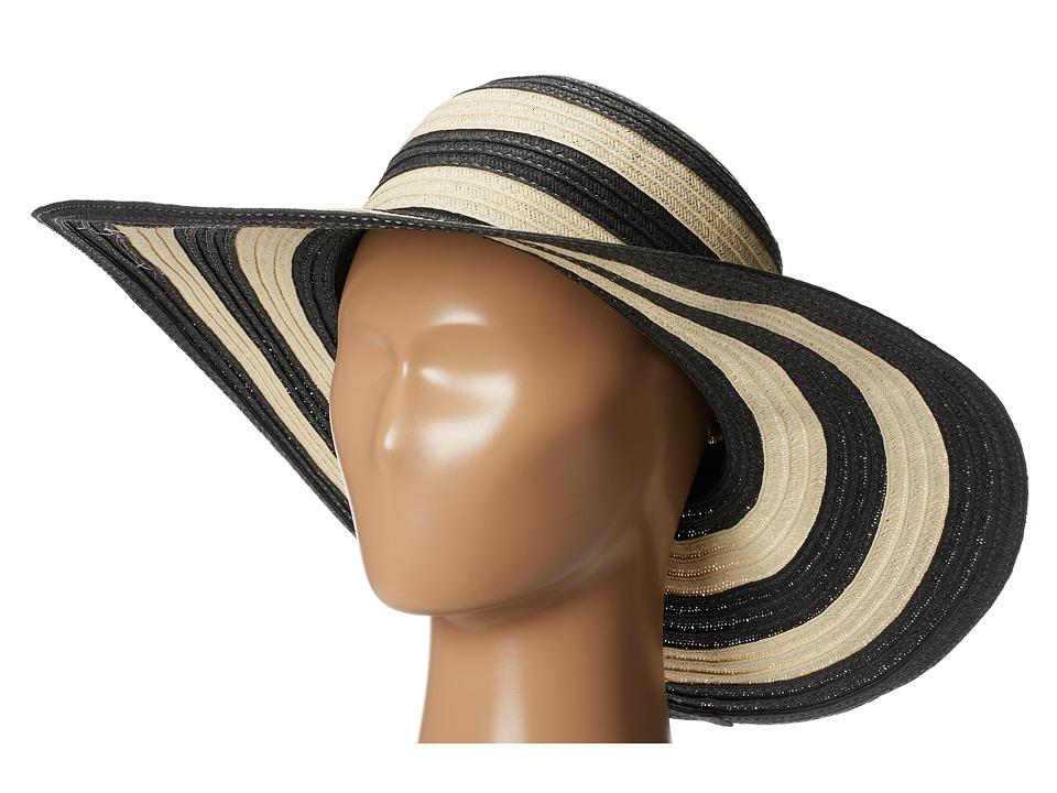 San Diego Hat Company - PBL3018 Large Brim Striped Lurex Mixed Braid Floppy Black Stripe Traditional Hats $22.00 AT vintagedancer.com
