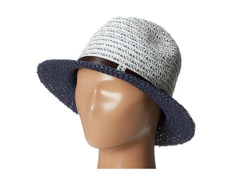 San Diego Hat Company UBF1006 Mixed Braid Belted Fedora - Indigo Blue