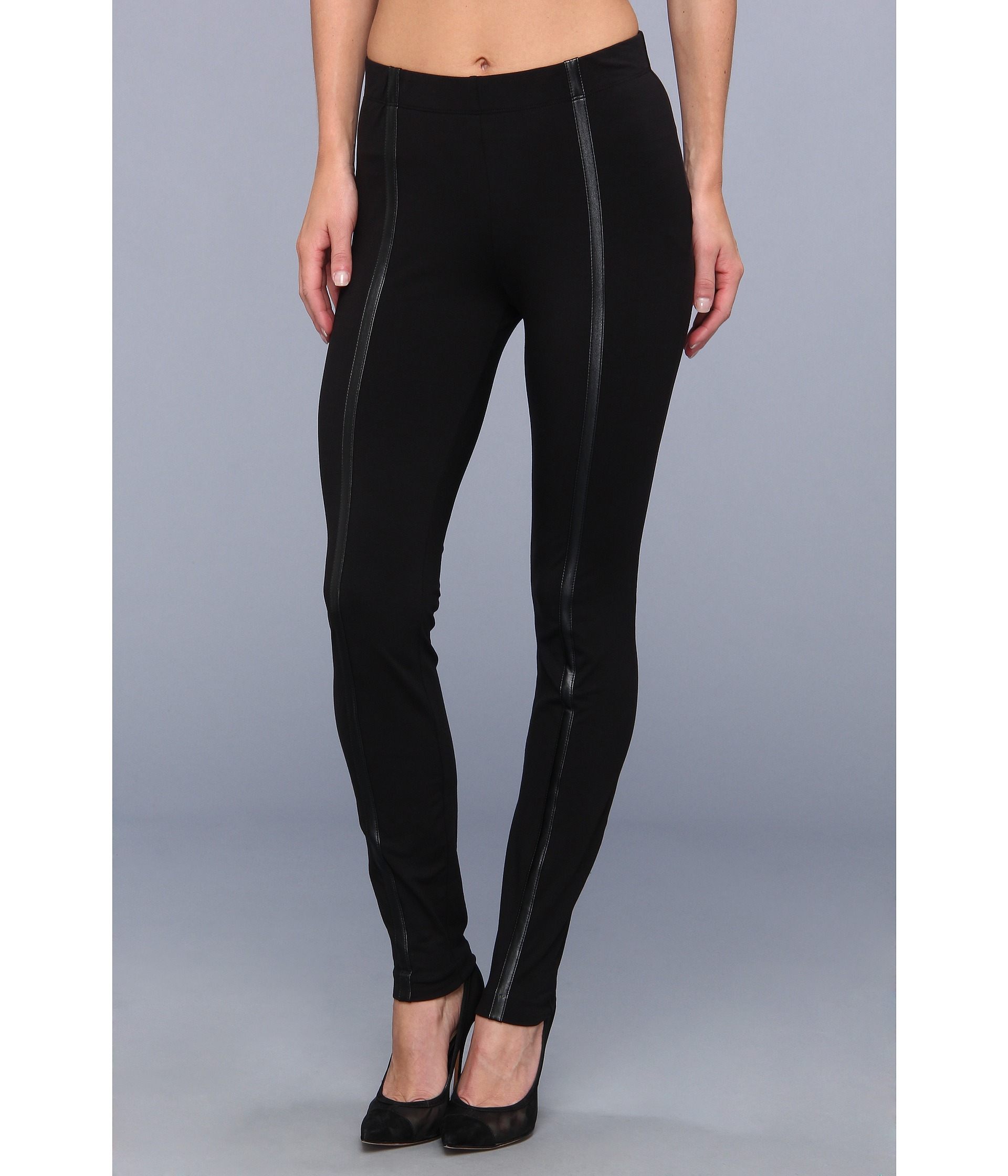dknyc cotton spandex faux leather strip legging shipped