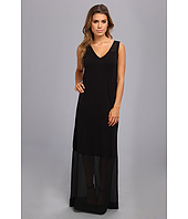 DKNYC - Sleeveless V-Neck Maxi Dress w/ Chiffon Yoke and Hem