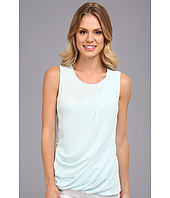 DKNYC - Lightweight Jersey Sleeveless Top w/ Diagonal Chiffon Overlay