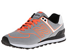 New Balance Classics WL574 Neon Lights Grey, Hot Coral Shoes