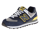 New Balance Classics ML574 Navy, Yellow 2 Shoes