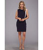 DKNYC - Matte Jersey Drop Shoulder Draped Front Dress w/ Exposed Zipper