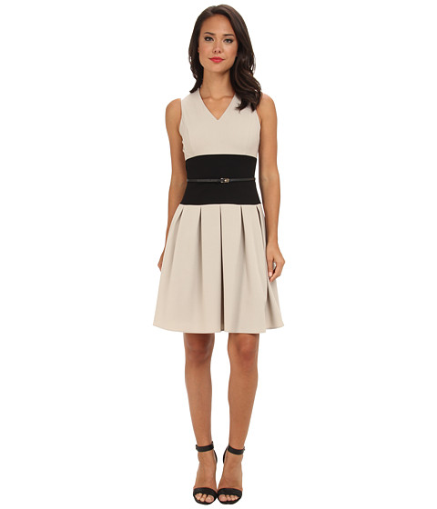 search calvin klein colorblock v neck belted fit flare
