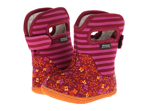 Bogs Kids Baby Classic Flower Stripe (Toddler) - Cranberry
