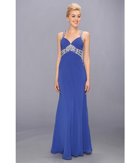 Faviana V-Neck Chiffon Cutout Gown 7118