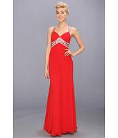 Faviana - V-Neck Chiffon Cutout Gown 7118
