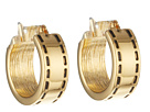 LAUREN Ralph Lauren - Equestrian Small Stitch Textured Click It Hoop Earring (Gold)