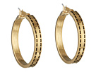 LAUREN Ralph Lauren - Equestrian Large Stitch Textured Click It Hoop Earring (Gold)