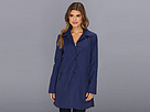Cole Haan - Single Breasted Raincoat With Button Closure Center Back Pleat (Marine)