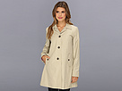 Cole Haan - Single Breasted Raincoat With Button Closure Center Back Pleat (Stone) - Apparel