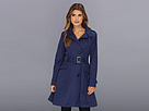 Cole Haan - Asymmetrical Skirted Trench (Marine) - Apparel