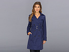Cole Haan Double Breasted Trench Coat Classic Fit Faux-Horn Buttons Buckles