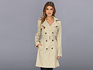 Cole Haan - Double Breasted Trench Coat Classic Fit Faux-Horn Buttons Buckles (Stone)