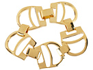 LAUREN Ralph Lauren - Equestrian 8 1/2 Extra Large Stirrup with Stitch Textured Foldover Bracelet (Gold)