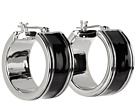 LAUREN Ralph Lauren - Deco Small 20mm Enamel Click It Hoop Earring (Black/Silver)