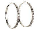 LAUREN Ralph Lauren - Deco 50mm Large Ribbed Click It Hoop Earring (Silver)