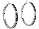 LAUREN Ralph Lauren - Deco Large 35mm Ribbed Metal Click It Hoop Earring (Silver)