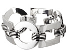 LAUREN Ralph Lauren - Deco 7 1/2 Large Square And Round Links With Texture Metal Connector With Foldover Closure Bracelet (Silver)