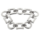 LAUREN Ralph Lauren - Deco 7 1/2 Small Square And Round Links With Textured Metal Connectors And Foldover Closure Bracelet (Silver)