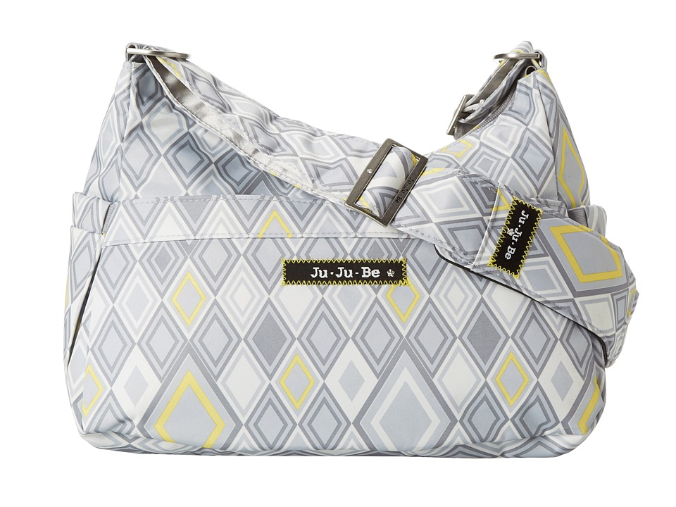 Ju-Ju-Be - Hobo Be Messenger Diaper Bag with Insulated Bottle Pockets and (4) Zippered Pockets (Silver Ice) Diaper Bags