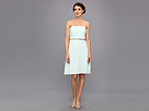 Donna Morgan - Donna Strapless Belted Chiffon Dress (Beachglass) - Apparel