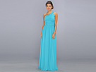 Donna Morgan One Shoulder Strapless Gown Rachel (Blue/Green)