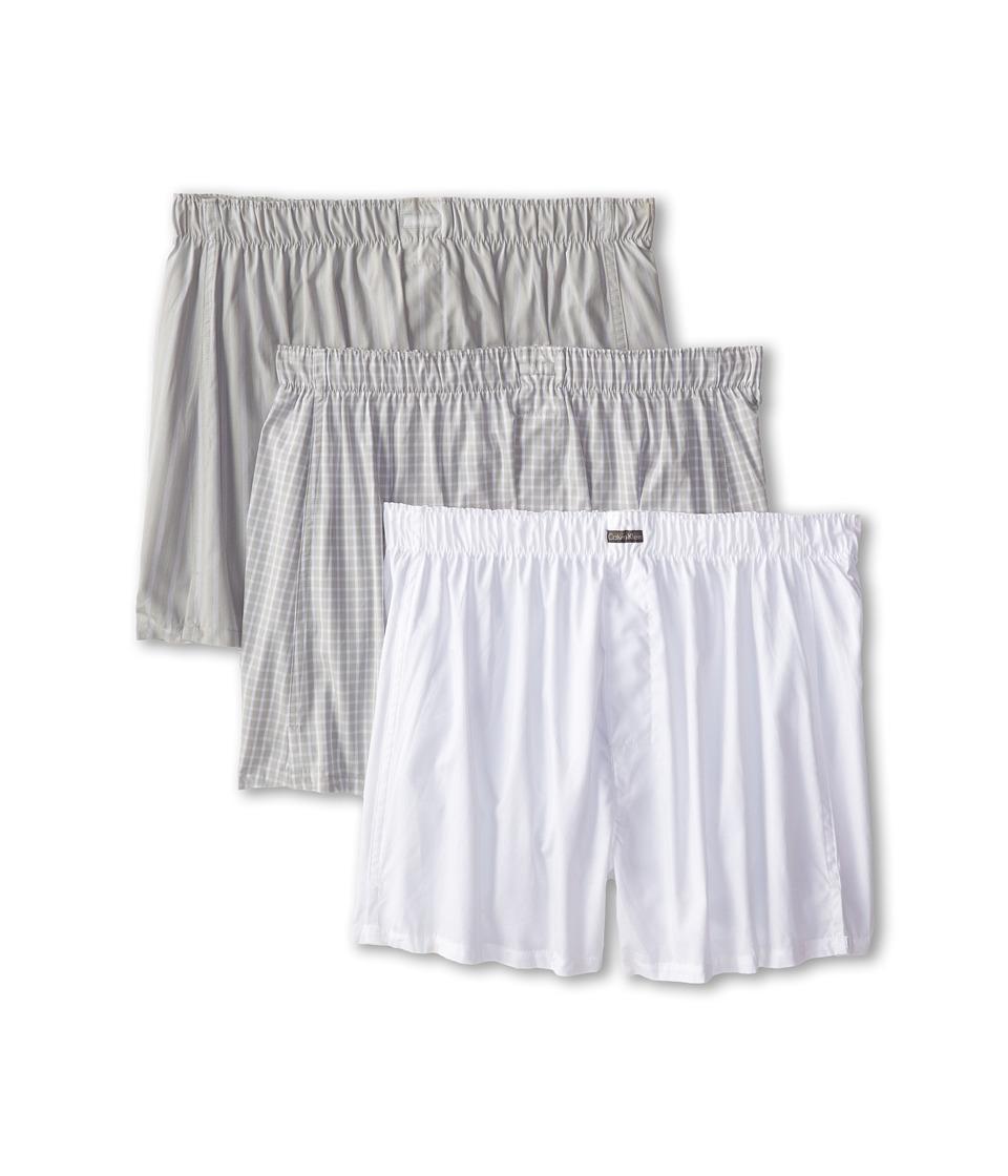 Calvin Klein Underwear 3 Pack Woven Boxers U1732 1 White 1 Alexander Plaid/Dark Pearl 1 Exxex Stripe/Dark Pearl Mens Underwear