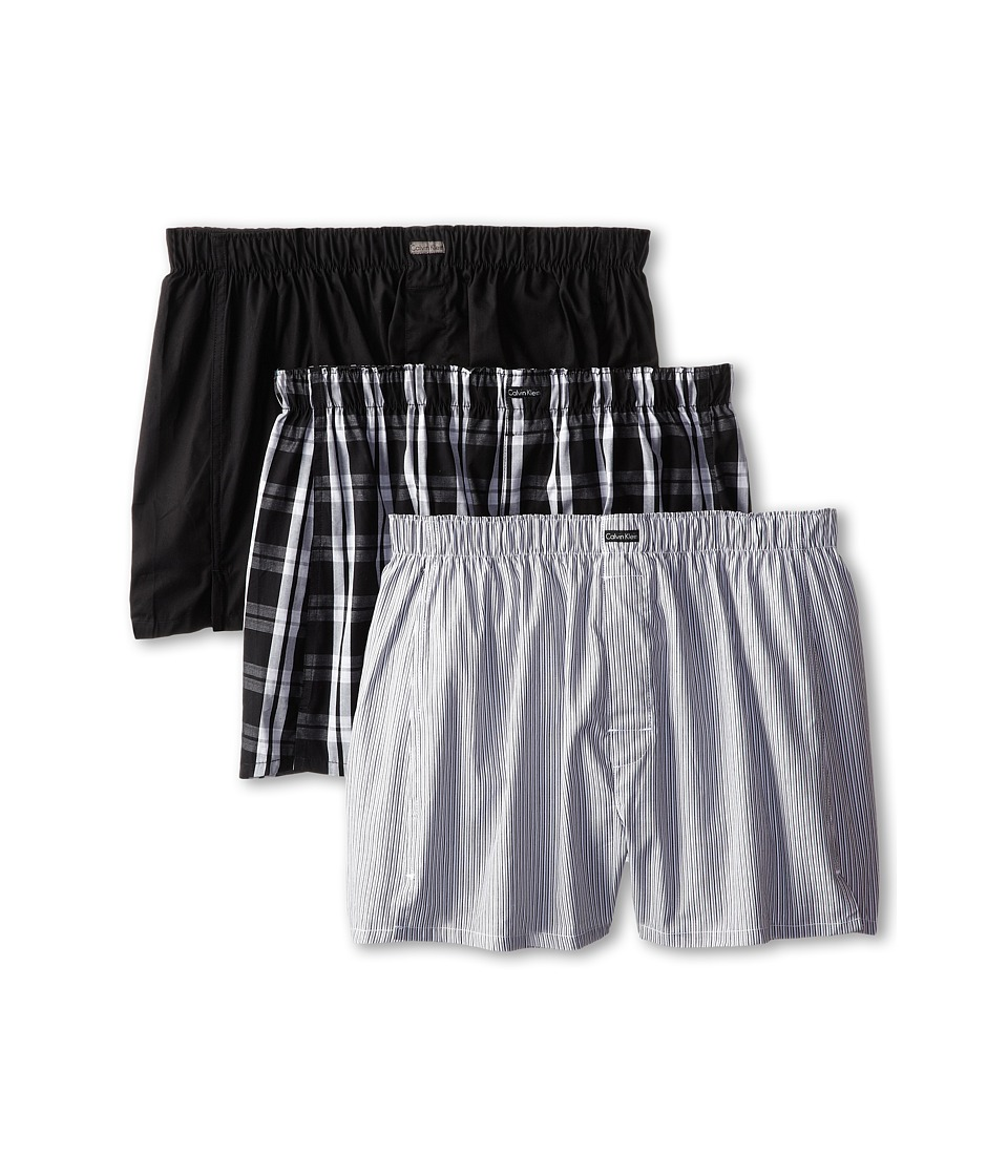 Calvin Klein Underwear 3 Pack Woven Boxers U1732 1 Black 1 Morgan Plaid/Black 1 Montague Stripe/Black Mens Underwear