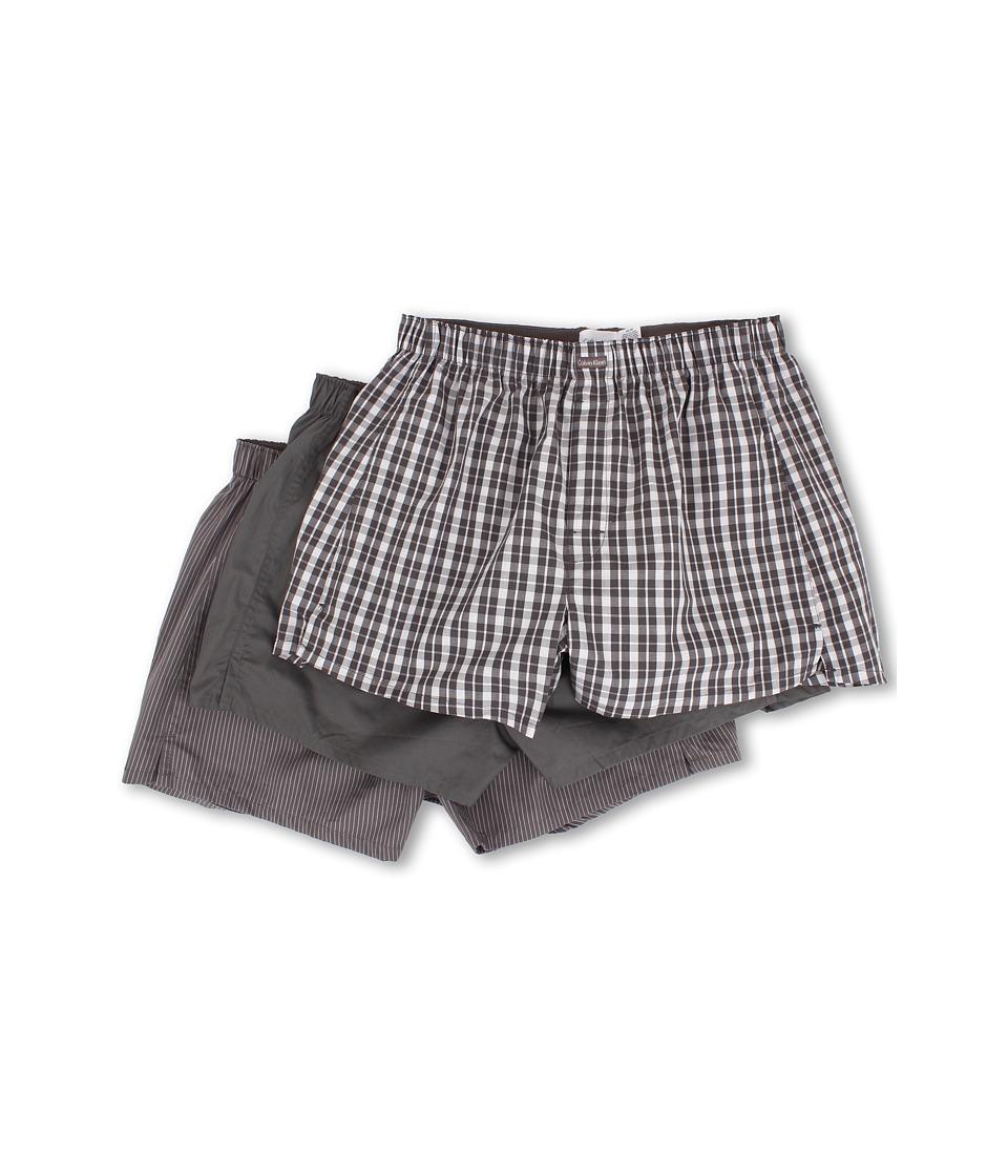 Calvin Klein Underwear 3 Pack Woven Boxers U1732 1 Grey Sky 1 Glen Plaid/Grey Sky 1 Matthew Stripe/Grey Sky Mens Underwear