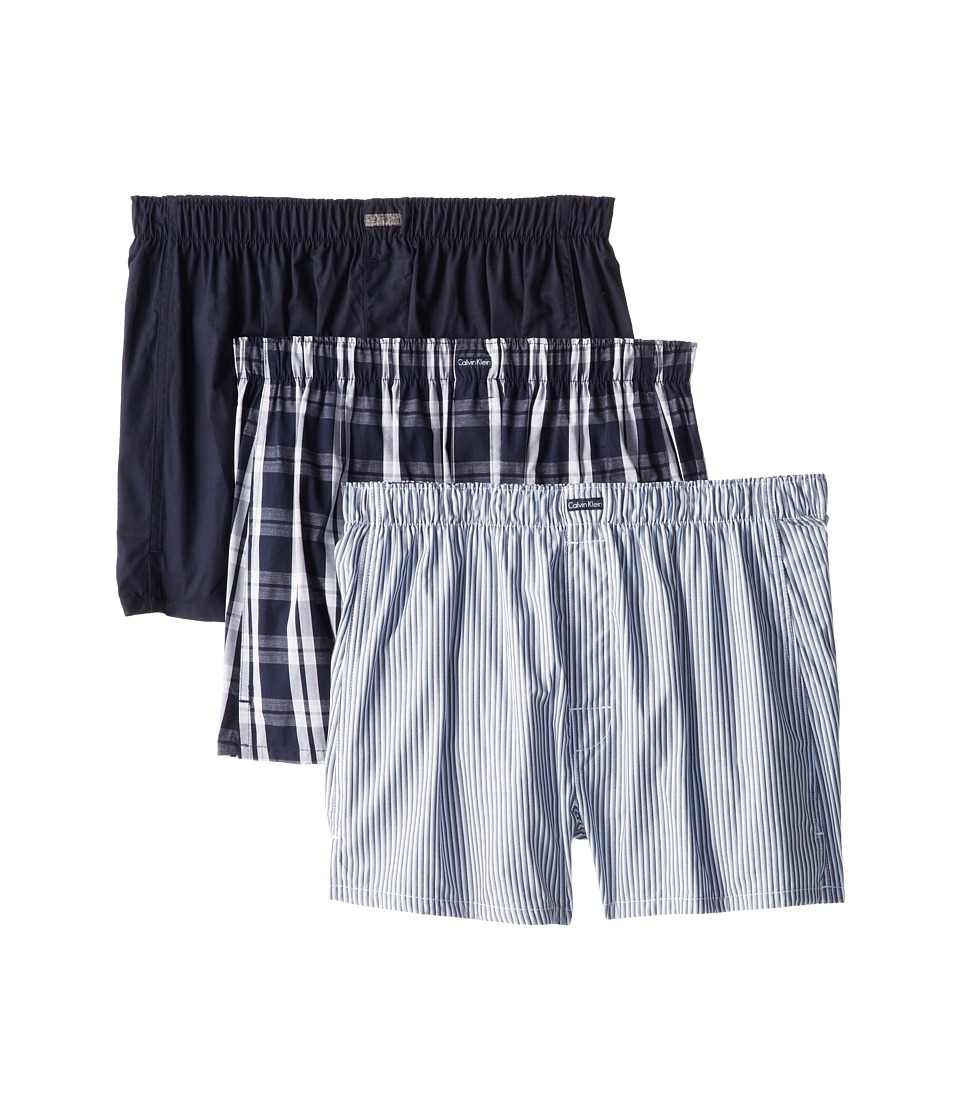 Calvin Klein Underwear 3 Pack Woven Boxers U1732 1 Tide 1 Morgan Plaid/Tide 1 Montague Stripe/Tide Mens Underwear