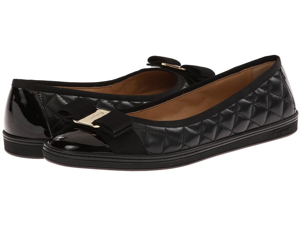 Salvatore Ferragamo - Nappa Leather/Tweed Sneaker (Nero Millen Patent) Womens Flat Shoes