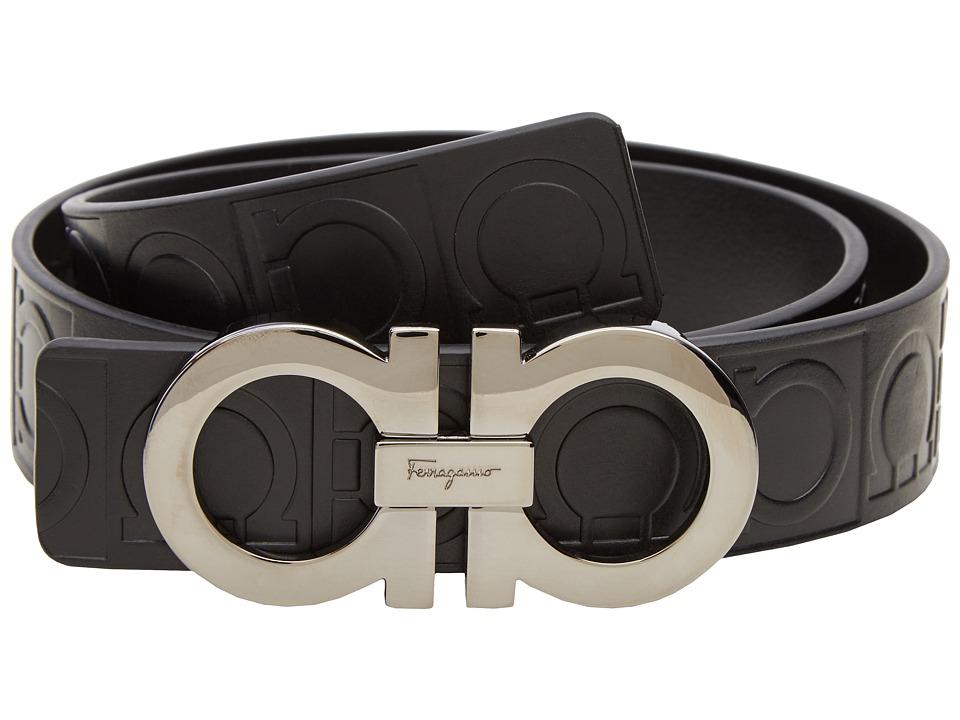 Salvatore Ferragamo - Double Gancini Sized Belt 679169 (Nero) Mens Belts