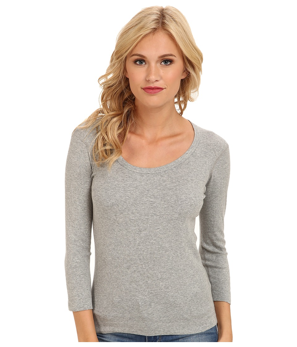 Three Dots 3/4 Sleeve Scoop Neck (Granite) Women
